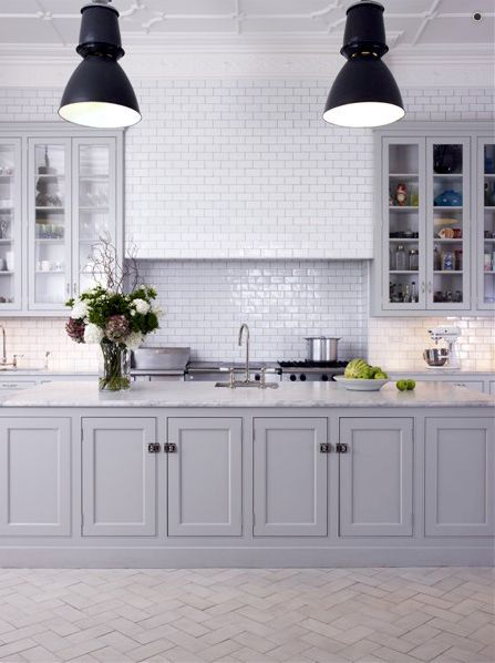 : Idea, Cabinets Color, Grey Cabinets, Grey Kitchens, Gray Cabinets, White Subway Tile, House, Subway Tiles, White Kitchens