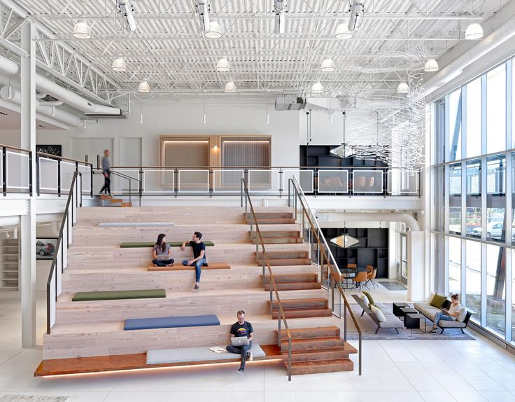 Office stairs and tiered seating from uber atcs offices in pittsburgh commercial lighting http