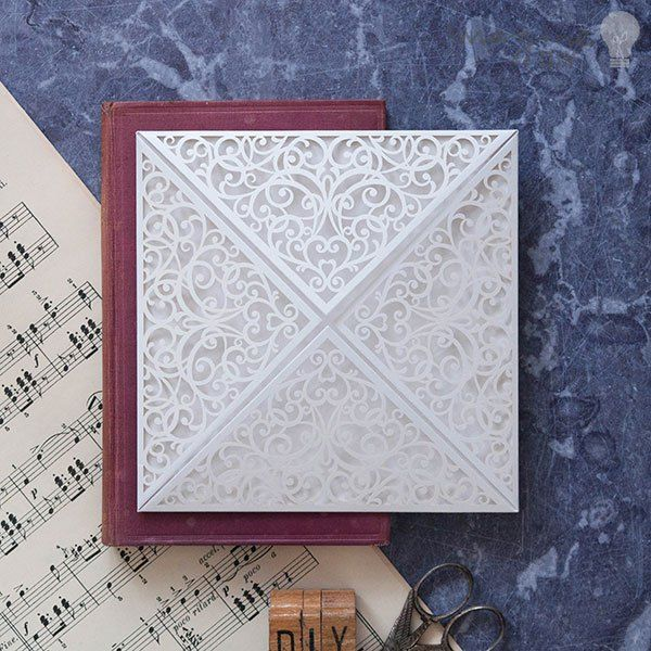 Corinne white laser cut invitation. Vintage style laser cut invitation to decorate yourself. DIY wedding stationery supplies