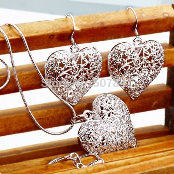TOP quality Silver Plated cute Heart Necklace Earring party set