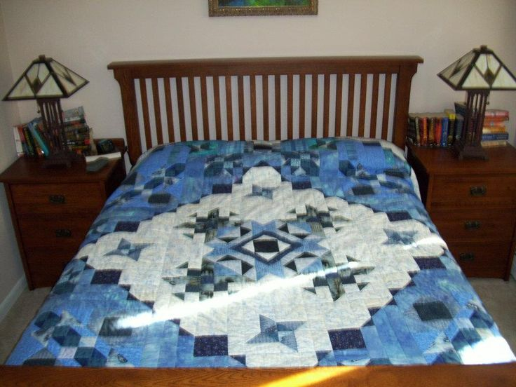 """Delbert and Leona"" pattern by Whirligig Designs completed in Blue and White, King Size"