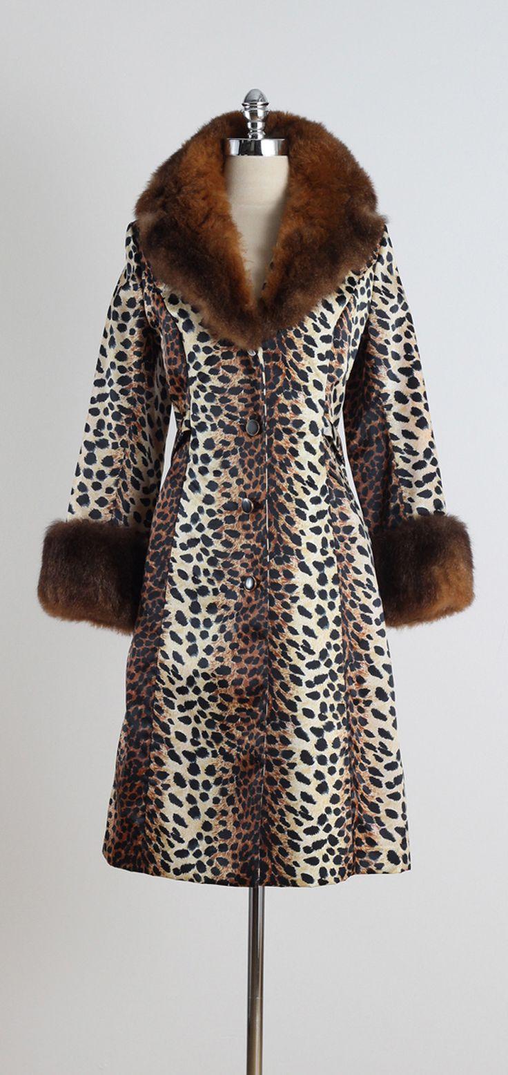 Lilli Ann Vintage 1960's Leopard Print Fur Trim Coat from Mill Street Vintage