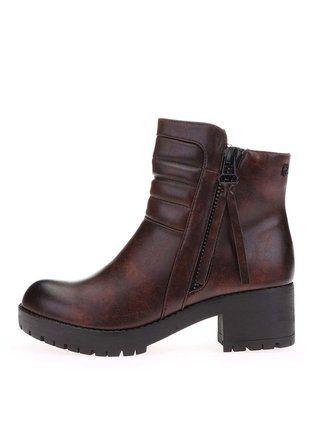 Refresh - Hnědé kotníkové boty na platformě - 1