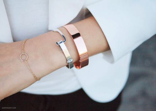 love these bracelets together: Style, Gold Bracelets, Silver, Bangles, White Gold, Arm Candies, Arm Parties, Mixed Metals, Rose Gold