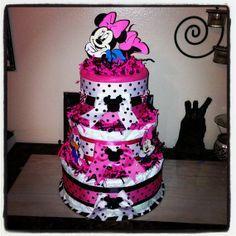minnie mouse diaper cake   Minnie Mouse Diaper Cake / Disney Diaper Cake on ...   One Day.....