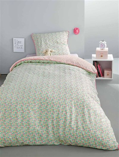 parure housse de couette taie d 39 oreiller multicoflore vert rose imprime vertbaudet enfant. Black Bedroom Furniture Sets. Home Design Ideas
