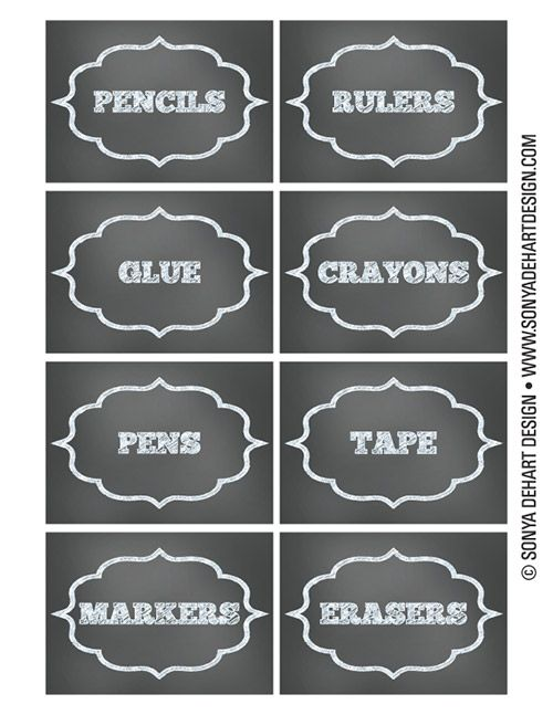 FREE Printable Chalkboard Teacher School Supply Labels