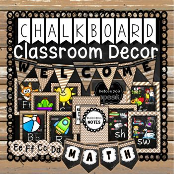 Rustic Chalkboard Classroom Decor includes alphabet posters, phonics posters, editable word wall set up, name plates, editable classroom rules, bulletin board, clock labels, pennant banners and SO MUCH MORE! This style features barn boards, chevron, stripes, polka dots and more!