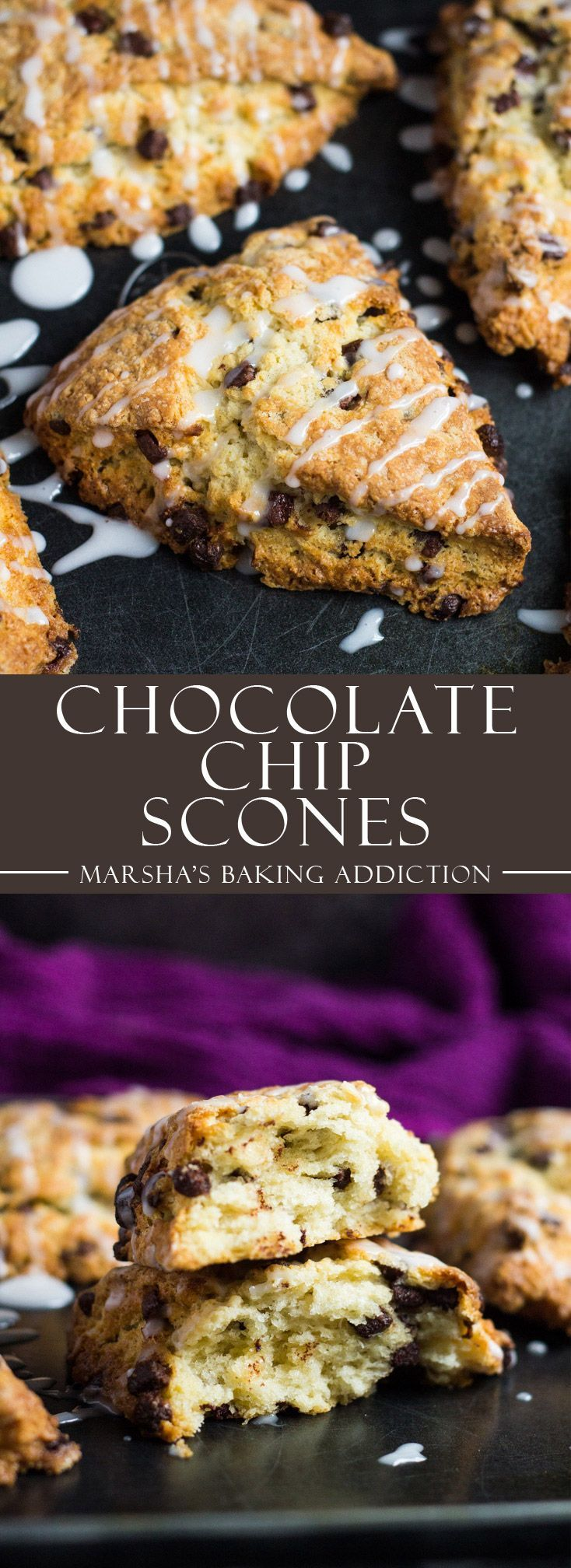 Chocolate Chip Scones | http://marshasbakingaddiction.com /marshasbakeblog/