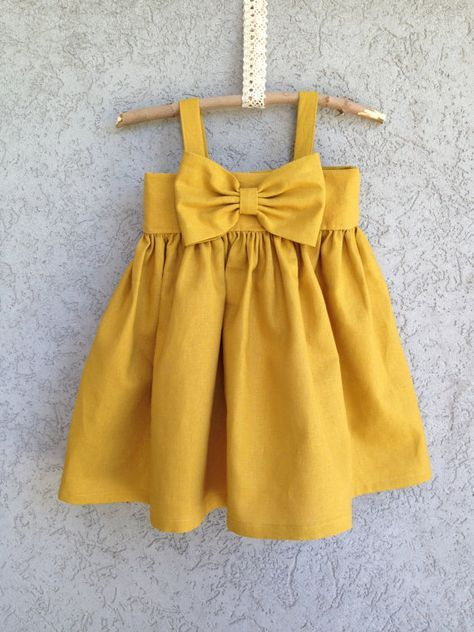 Trend Custom listing for Pinkjet Big Bow Dress Mustard Yellow baby dress