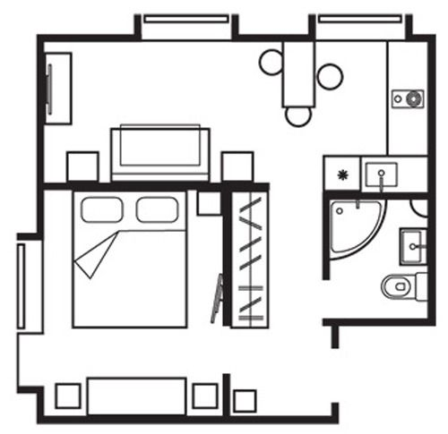 Фотография: Планировки в стиле , Эклектика, Квартира, Дома и квартиры, IKEA, Проект недели, Перепланировка, Москва, Zara Home, из однушки двушка – фото на InMyRoom.ru