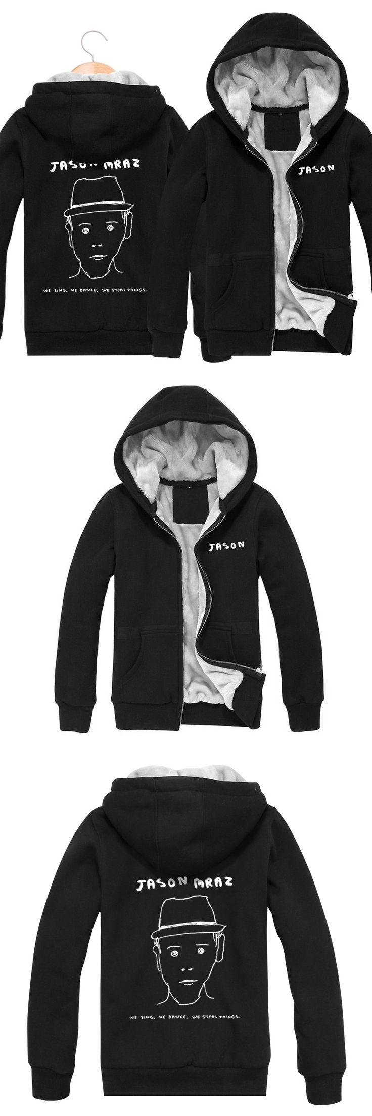 Wholesale New 2017 Winter Black Sweatshirt Fashion Hip Hop Zip Thickening  Velvet Jacket Jason Rock Band Hoodies Men Brand