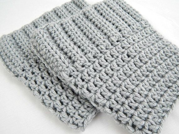 Light Grey Boot Cuffs Womens Crochet Boot Socks Knit Boot Toppers Fall and Winter Leg Warmers #etsymnt #shopetsy