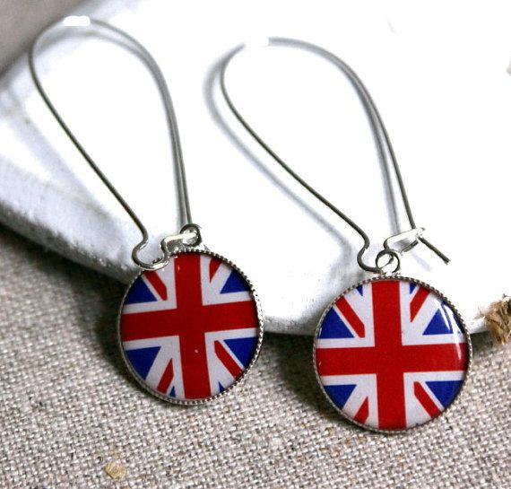 British flag earring long kidney wire union jack earring uk flag clip-on long flag clips national flag earring etsy fance THREE for TWO E317 on Etsy, £12.27
