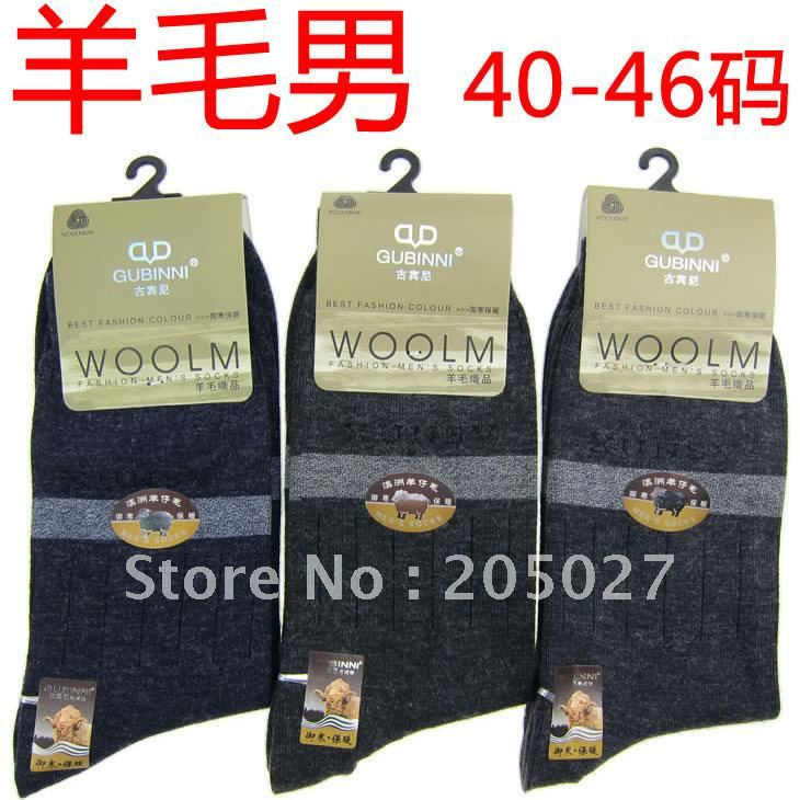 Freeshiping GUBINI brand mens wool socks plus size 39-46 for autumn and winter