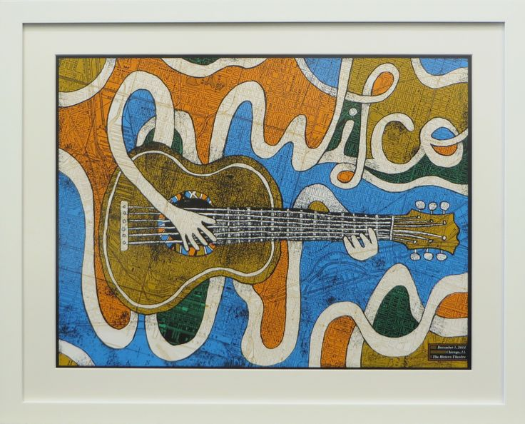 The white on white design gives this whimsical poster an airy, modern feel. #framedart #wilco #concertposter