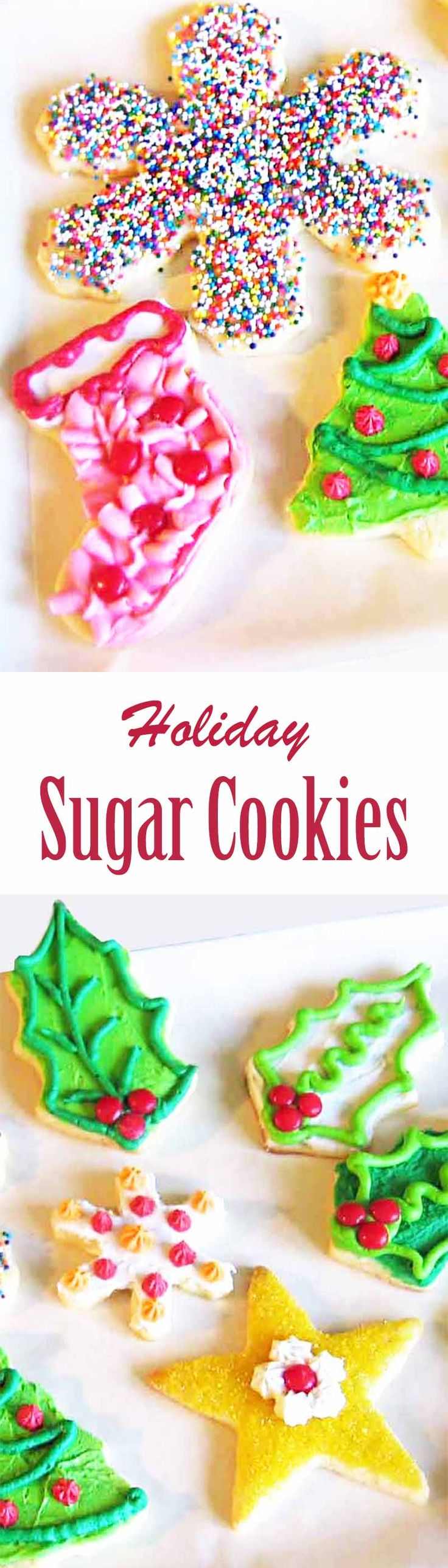 Tried-and-true, fabulous sugar cookie recipe! Old fashioned, easy to make buttery cookies, perfect to decorate for the holidays! #ChristmasCookies #Cookies #SugarCookies