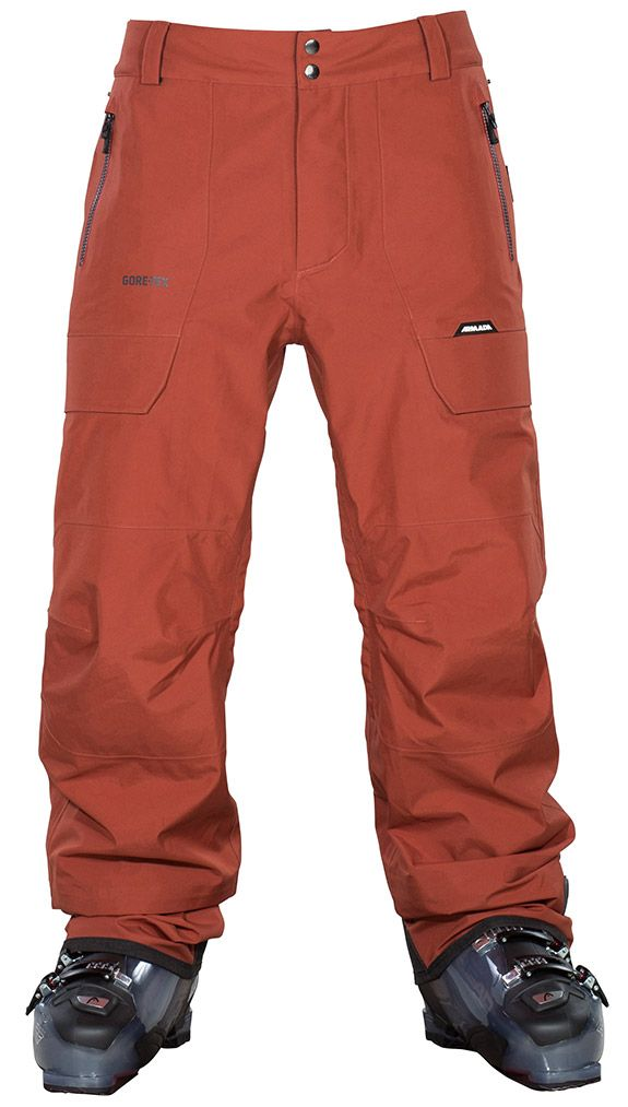 Crest Gore-Tex 3L Pant - Rust.  Warm, durable, and waterproof, the Crest pant is the prefect complement to the Sherwin jacket. For added warmth and comfort, a flannel backer is laminated on the inside of the GORE-TEX® 3L fabric. 13mm GORE-SEAM tape and YKK AQUAGUARD® help keep you warm and dry. At the bottom of the pant, Schoeller® Keprotec® Reinforcement helps protect the cuff from wear and tear. | Armada  #Goretex #Outerwear