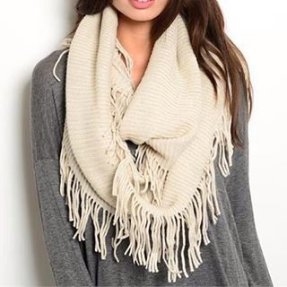 $18 Beige Infinity Scarf with Fringe. Check out our post at www.facebook.com/royalravenboutique #freeshippinginlower48states #boutique #scarf #infinityscarves #royalravenboutique #beige #fringe #infinityscarfwithfringe #fringescarves #beigescarves #womensaccessories #contemporary #fashion #winter #warmscarves #coldnights #style #christmasgiftideas