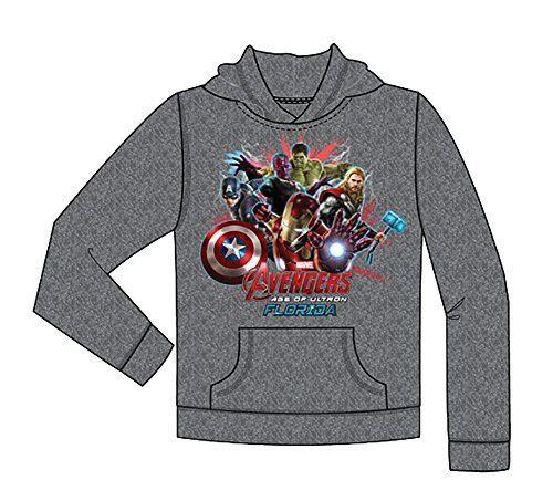 Marvel Iron Man Thor Captian America Hulk Avengers Youth Gray Sweatshirt Hoodie