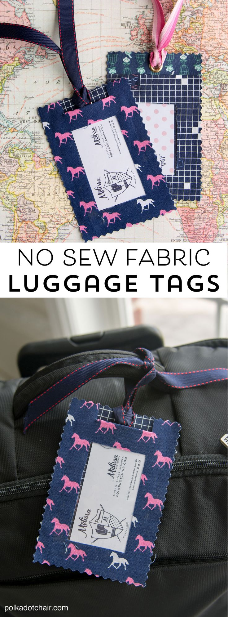 DIY Fabric Luggage Tags; so easy to make and they are no sew