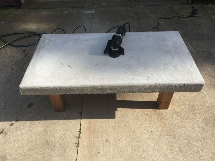 Back Yard Coffee Table. Top Made of Concrete With Crushed Wine Bottles. - This is my first attempt at making outdoor lawn furniture.I formed the top on the 4x