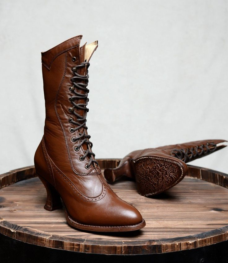 Modern Victorian Lace Up Leather Boots in Cognac by Oak Tree Farms | Modern Victorian Boots & Shoes | Western & Cowgirl Boots