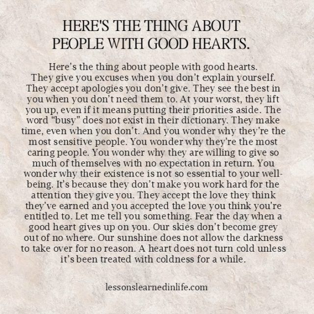 Lessons Learned in Life | People with good hearts.