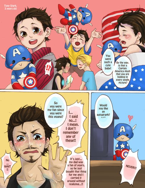 page 4 steve finds photos of baby!tony and a captain america plushie that he took everywhere with him. present day tony tries to pretend it never happened.