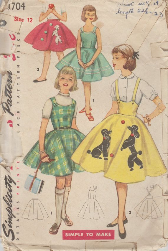 1950s Girls Poodle Skirt Vintage Sewing Pattern