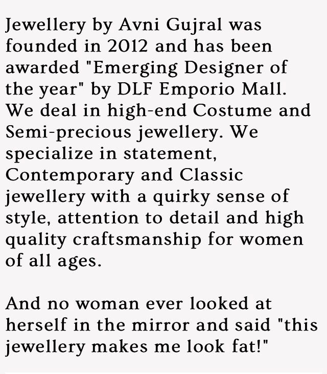 Write up on Jewellery by Avni Gujral