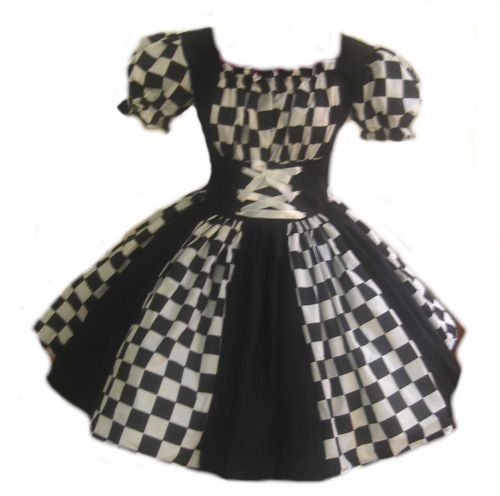 Harlequin Dress Halloween Costume Circus Clown Mardi Gras Black and White Womens XLarge