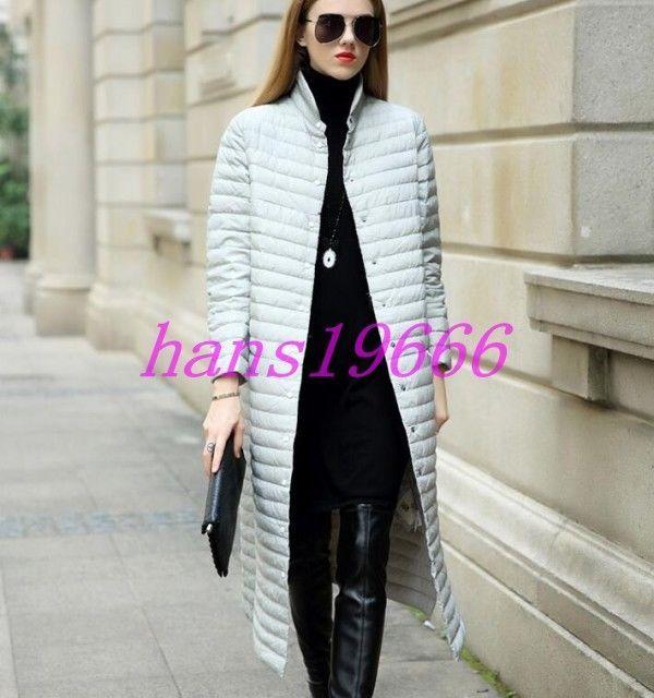 Womens 90% Duck Down Stand Collar Knee Length Super Long Coats Ultralight Jacket