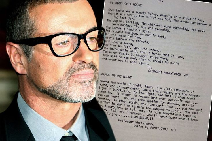 Poems by George Michael found by a fan in her yearbook. He wrote these at 11 years old. Incredible poems so much empathy for such a young child. He really felt for others was so charitable! He paid for one woman fertility treatment he heard on the news paid for so many others to get well. paid multi millions to charities. On Christmas would pack his suv with gifts and food then go to the streets where the poor people were suffering and make their Christmas special. He loved Christmas but…