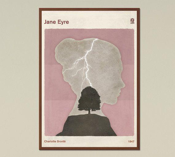 Charlotte Brontë Jane Eyre  Large minimalist by RedHillPrintables