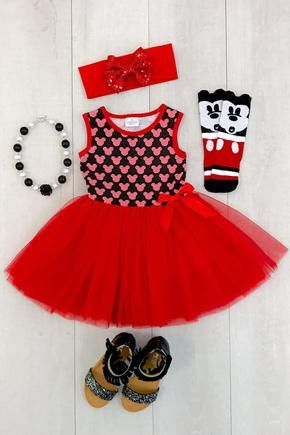 Vestido de Mickey Tutu Rojo - Chispa en Rosa