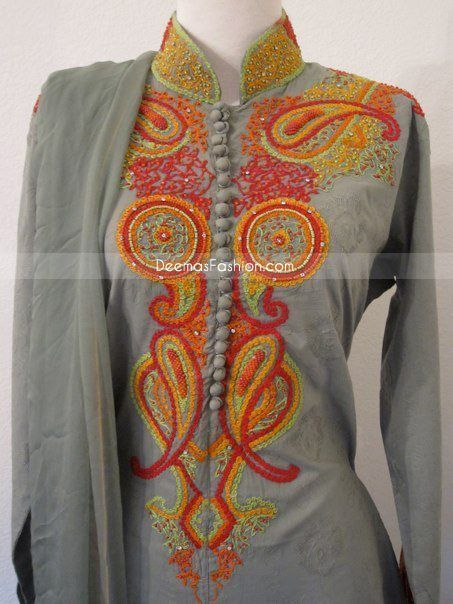 Best pakistani embroidery images on pinterest