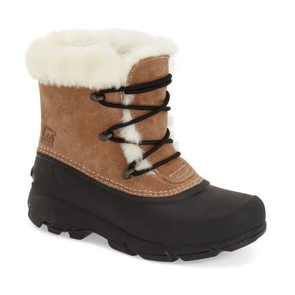 Women's Sorel 'Snow Angel' Waterproof Lace-Up Snow Boot (£69) ❤ liked on Polyvore featuring shoes, boots, ankle booties, ankle boots, rootbeer, waterproof snow boots, bootie boots, water proof boots, laced booties and lace up boots