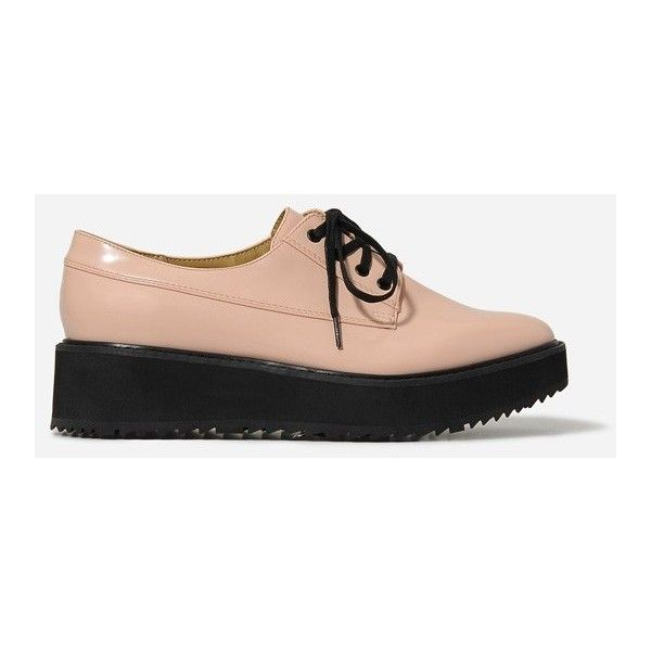 CHARLES & KEITH Platform Wedge Oxfords ($19) ❤ liked on Polyvore featuring shoes, oxfords, pink, round cap, charles & keith, low platform wedge shoes, laced shoes and round toe shoes