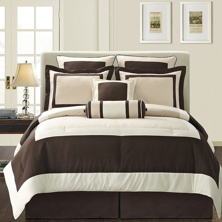 Gramercy Brown 12-pc. Bed Set, Beig/Green (Beig/Khaki)
