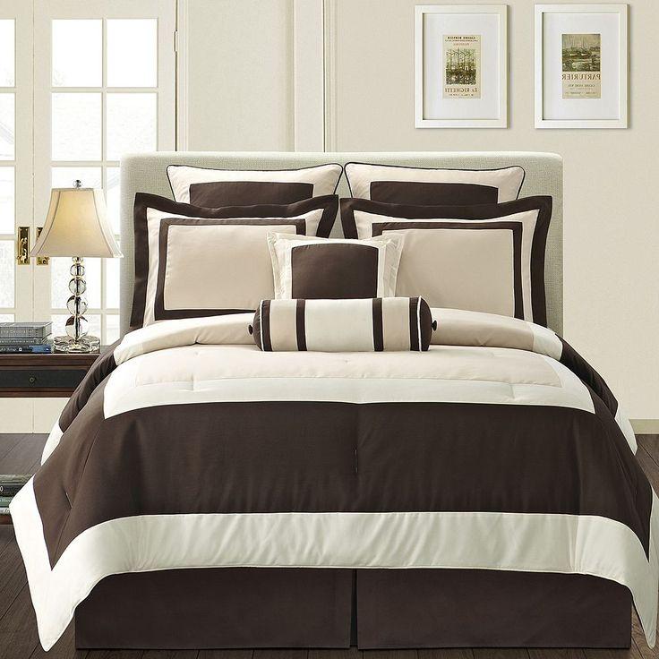 Gramercy Brown 12-pc. Bed Set, Beig/Green (Beig/Khaki)