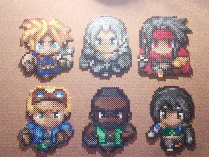 Final Fantasy 7 Perler Bead Sprites (Cloud Strife, Sephiroth, Vincent Valentine, Cid Highwind, Barret Wallace and Yuffie Kisaragi) by Primalstrike