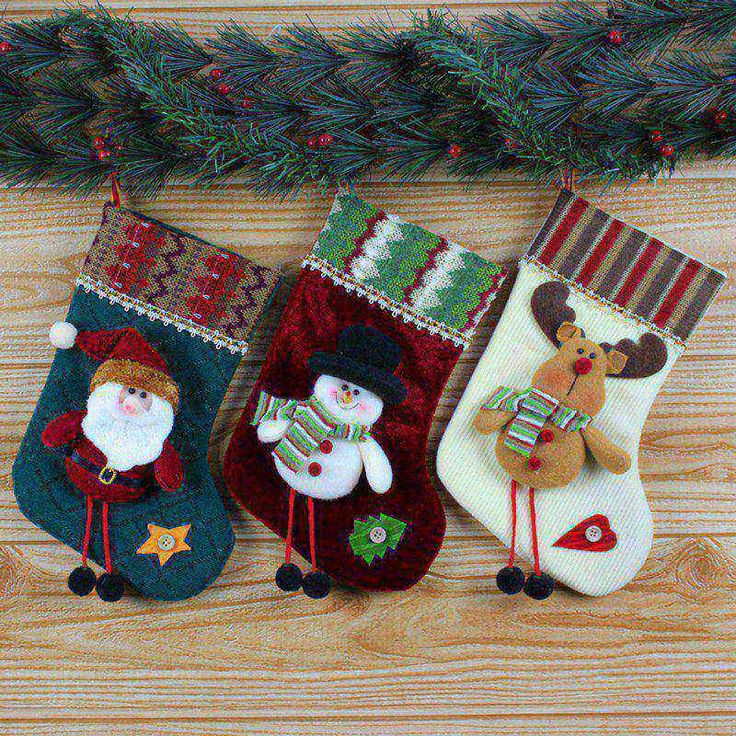 Christmas Stocking Pressure Gifts New Santa Claus Christmas Stocking Hanger Xmas Ornaments Plush Candy Gift Bags
