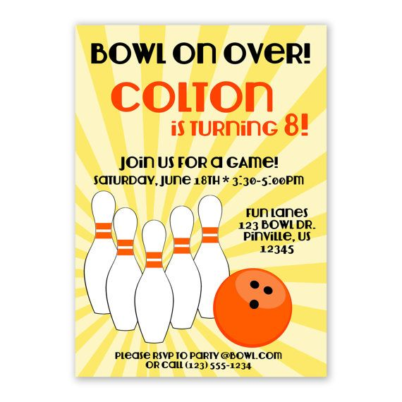 71 best Bowling Theme Party images on Pinterest Birthday party - bowling invitation template
