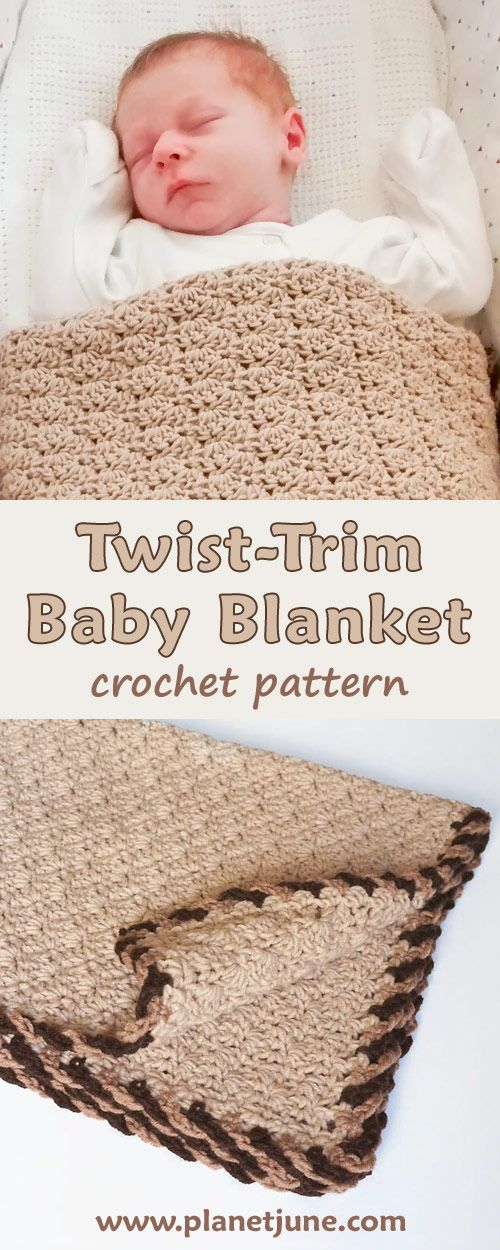 Perfect go-to baby blanket pattern for baby shower gifts (it's so easy to personalise by choosing different pairs of colours for the afghan edging).