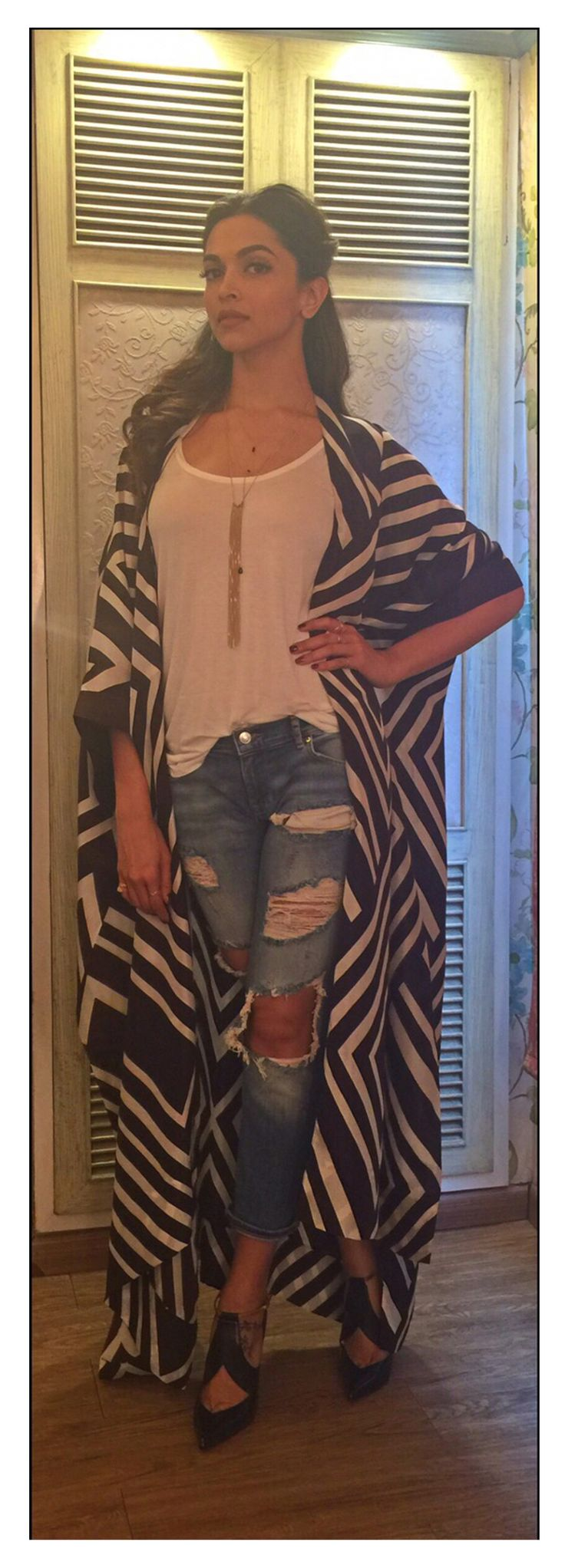 Deepika Padukone in payalkhandwala Silk Mara Kimono Jacket