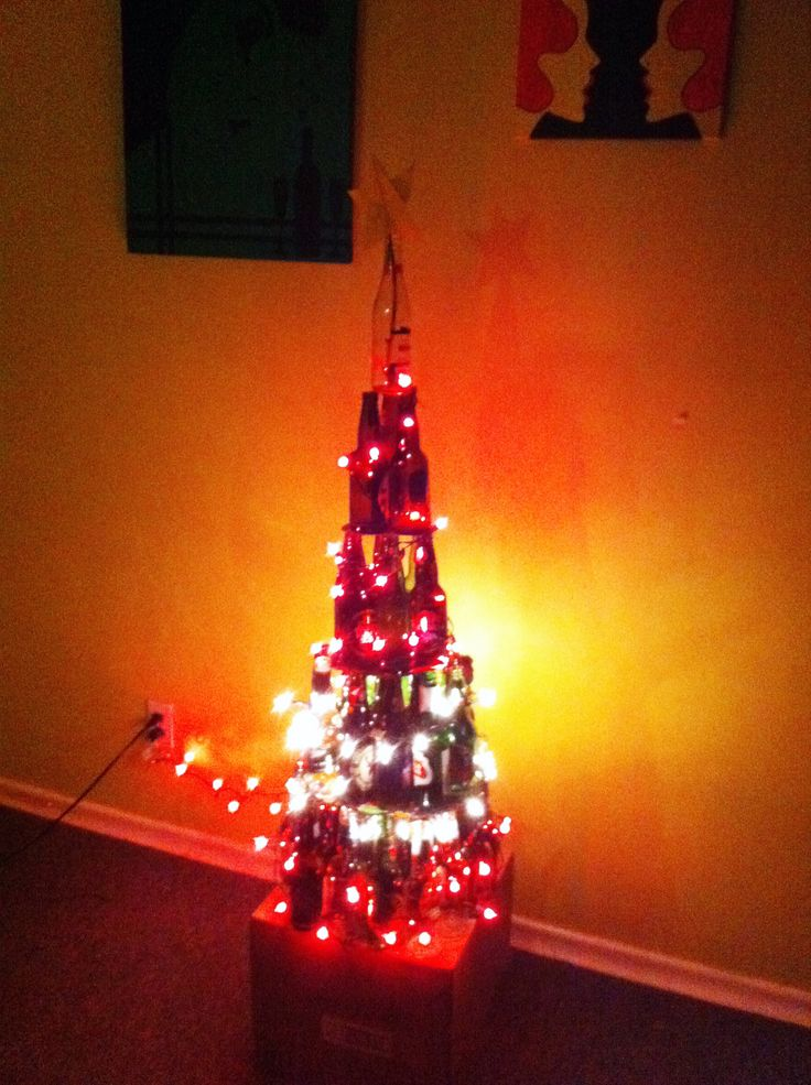 Christmas beer bottle tree!  Perfect project for tomorrow, given I can move my left arm by then...