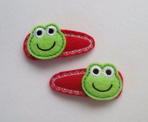 Green Felt Frogs On Red Felt Snap Clip Covers by PJSEMBROIDERY, $5.00