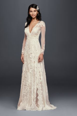 Romantic lace gets a fresh take on this sheath wedding dress with a captivating linear motif featuring four different lace appliques. Long illusion sleeves and a deep V-neckline make it luxurious from shoulder to hem   Melissa Sweet, exclusively at David's Bridal  Polyester  Sweep train  Back zipper; fully lined  Dry clean  Imported Protect your dress for years to come with our Wedding Gown Preservation Kit.