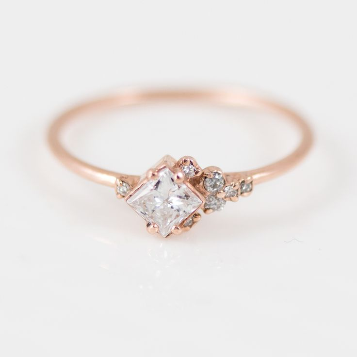 Princess Cut White Diamond Mini Cluster Ring in 14k Gold by jewelry artisan Melanie Casey